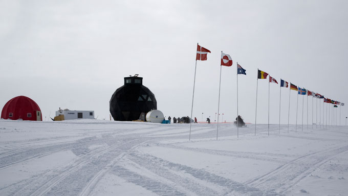 The international flag line of the NEEM ice coring camp