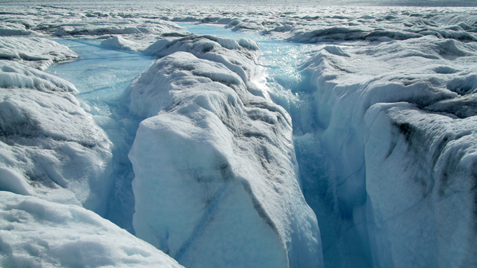 Meltwater from the ice sheet surface is drained through a moulin