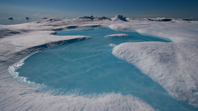 Meltwater pond on an iceberg